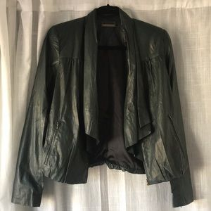 DVF Emerald Leather Bomber Jacket w/ Draped Front